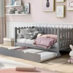 New Twin Size Rustic Style Daybed with Trundle Bed, and Wooden Slats Support, Space-saving Design, No Box Spring Needed – Gray