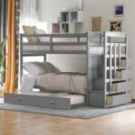 New Twin-Over-Twin Size Bunk Bed Frame with Trundle Bed, Storage Stairs, and Wooden Slats Support, No Spring Box Required (Frame Only) – Gray