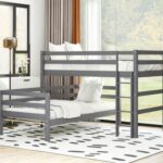 New Twin-Over-Twin Size Splittable Bunk Bed Frame with Ladder, and Wooden Slats Support, No Spring Box Required (Frame Only) – Gray