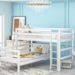New Twin-Over-Twin Size Splittable Bunk Bed Frame with Ladder, and Wooden Slats Support, No Spring Box Required (Frame Only) – White