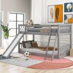 New Twin-Over-Twin Size Bunk Bed Frame with Slide, Ladder, and Wooden Slats Support, No Spring Box Required (Frame Only) – Gray