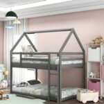 New Twin-Over-Twin Size House-Shaped Bunk Bed Frame with Ladder, and Wooden Slats Support, No Spring Box Required (Frame Only) – Gray