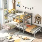 New Twin-Over-Twin Size L-Shaped Bunk Bed Frame with Ladder, and Wooden Slats Support, No Spring Box Required (Frame Only) – Gray