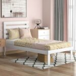 New Twin-Size Platform Bed Frame with Headboard and Wooden Slats Support, No Box Spring Needed (Only Frame) – White