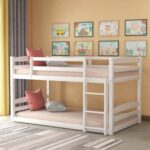 New Twin-Over-Twin Size Separable Bunk Bed Frame with Ladder, and Wooden Slats Support, No Spring Box Required (Frame Only) – White