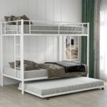 New Twin-Over-Twin Size Bunk Bed Frame with Trundle Bed, Ladder, and Metal Slats Support, No Spring Box Required (Frame Only) – White
