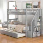 New Twin-Over-Twin Size Bunk Bed Frame with Trundle Bed, Storage Shelves, and Wooden Slats Support, No Spring Box Required (Frame Only) – Gray
