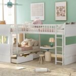 New Twin-Over-Twin Size L-Shaped Bunk Bed Frame with Loft Bed, 2 Storage Drawers, and Wooden Slats Support, No Spring Box Required (Frame Only) – White