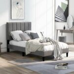 New Twin-Size Upholstered Platform Bed Frame with Headboard and Wooden Slats Support, Box Spring Needed (Only Frame) – Gray