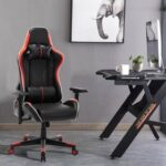New Home Office PU Leather Rotatable Gaming Chair Height Adjustable with Ergonomic High Backrest and Casters – Red