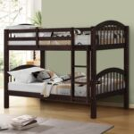 New Twin-Over-Twin Size Bunk Bed Frame with Ladder, and Wooden Slats Support, No Spring Box Required (Frame Only) – Espresso
