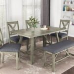 New TOPMAX 6 Piece Rustic Style Wooden Dining Set, Including 1 Table, 1 Bench, and 4 Chairs – Gray