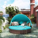 New TOPMAX Patio Round Rattan Daybed with Retractable Canopy, Separate Seating and Removable Cushion – Blue