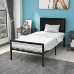 New Twin-Size Metal Platform Bed Frame with Headboard and Metal Slats Support, No Box Spring Needed (Only Frame) – Black