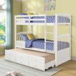 New Twin-Over-Twin Size Bunk Bed Frame with 3 Storage Drawers Trundle Bed, and Wooden Slats Support, No Spring Box Required (Frame Only) – White