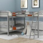 New Twin-Over-Twin Size L-Shaped Bunk Bed Frame with Loft Bed, Ladder, and Wooden Slats Support, No Spring Box Required (Frame Only) – Gray
