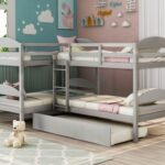 New Twin-Over-Twin Size L-Shaped Bunk Bed Frame with Trundle Bed, Ladder, and Wooden Slats Support, No Spring Box Required (Frame Only) – Gray
