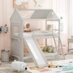 New Twin-Over-Twin Size House-Shaped Bunk Bed Frame with Slide, Ladder, and Wooden Slats Support, No Spring Box Required (Frame Only) – White