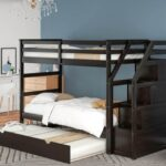 New Twin-Over-Twin Size Bunk Bed Frame with Trundle Bed, 3 Storage Stairs, and Wooden Slats Support, No Spring Box Required (Frame Only) – Espresso