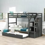 New Twin-Over-Twin Size Bunk Bed Frame with Trundle Bed, 3 Storage Stairs, and Wooden Slats Support, No Spring Box Required (Frame Only) – Gray