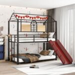 New Twin-Over-Twin Size Bunk Bed Frame with Slide, Ladder, and Metal Slats Support, No Spring Box Required (Frame Only) – Black + Red