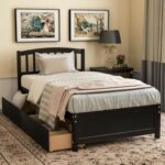 New Twin-Size Platform Bed Frame with 2 Storage Drawers, Headboard and Wooden Slats Support, No Box Spring Needed (Only Frame) – Espresso