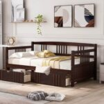 New Twin Size Daybed with 2 Storage Drawers, and Wooden Slats Support, Space-saving Design, No Box Spring Needed – Espresso