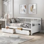 New Twin Size Daybed with 2 Storage Drawers, and Wooden Slats Support, Space-saving Design, No Box Spring Needed – White