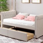 New Twin Size Upholstered Daybed Frame with 2 Storage Drawers and Wooden Slats Support, No Need for Spring Box, for Living Room, Bedroom, Office, Apartment – Beige