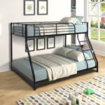 New Twin-Over-Full Size Bunk Bed Frame with Ladder, and Metal Slats Support, No Spring Box Required (Frame Only) – Black