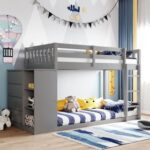New Twin-Over-Twin Size Bunk Bed Frame with 4 Storage Drawers, 3 Shelves, and Wooden Slats Support, No Spring Box Required (Frame Only) – Gray