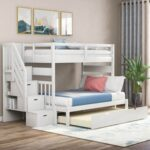 New Full-Over-Twin/Full Size Bunk Bed Frame with Trundle Bed, Storage Stairs, and Wooden Slats Support, No Spring Box Required (Frame Only) – White