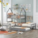 New Twin-Over-Twin Size House-Shaped Bunk Bed Frame with Trundle Bed, and Wooden Slats Support, No Spring Box Required (Frame Only) – Gray