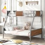 New Twin-Over-Full Size Bunk Bed Frame with Ladder, and Metal Slats Support, No Spring Box Required (Frame Only) – Silver