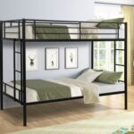 New Twin-Over-Twin Size Bunk Bed Frame with Two-Side Ladders, and Metal Slats Support, No Spring Box Required (Frame Only) – White
