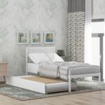 New Twin-Size Platform Bed Frame with Trundle Bed, Headboard and Wooden Slats Support, No Box Spring Needed (Only Frame) – White