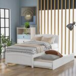 New Twin-Size Platform Bed Frame with Trundle Bed, Headboard, and Wooden Slats Support, No Box Spring Needed (Only Frame) – White