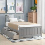 New Twin-Size Platform Bed Frame with 2 Storage Drawers, Headboard and Wooden Slats Support, No Box Spring Needed (Only Frame) – Gray