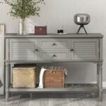New U-STYLE 47″ Modern Style Wooden Console Table with 2 Storage Drawers, 2 Cabinets and Bottom Shelf, for Entrance, Hallway, Dining Room, Kitchen – Gray