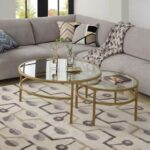 New U-STYLE Glass Round Coffee Table Set of 2, with Metal Frame, for Kitchen, Restaurant, Office, Living Room, Cafe – Gold