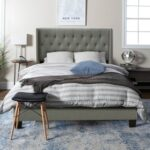 New Queen-Size Linen Fabric Upholstered Platform Bed Frame with Headboard and Wooden Slats Support, Box Spring Needed (Only Frame) – Gray