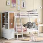 New Twin-Over-Twin Size Bunk Bed Frame with Bookcase, Storage Drawers, and Wooden Slats Support, No Spring Box Required (Frame Only) – White