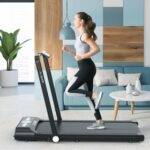New ACGAM B1-402 Portable Treadmill Smart Walking Machine 2 in 1 Jogging and Running Outdoor Indoor Fitness Training Gym Equipment Installation-Free Built-in Bluetooth Speaker with Wheels, Remote Control for Home, Office – Black