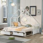 New Twin Size Wooden Extending Daybed with 2 Storage Drawers, Space-saving Design, No Box Spring Needed – White