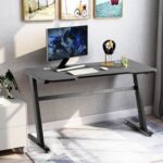 New Home Office 47″ Computer Desk with Wooden Tabletop and Metal Frame, for Game Room, Office, Study Room – Black
