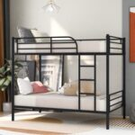 New Twin-Over-Twin Size Bunk Bed Frame with Ladder, and Metal Slats Support, No Spring Box Required (Frame Only) – Black