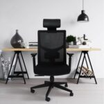 New Home Office Fabric Rotatable Office Chair Height Adjustable with Ergonomic High Backrest and Casters – Black