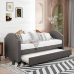 New Twin Size Fabric Upholstered Daybed with Trundle Bed, and Wooden Slats Support, Space-saving Design, No Box Spring Needed – Gray