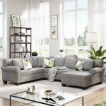 New 113″ 7-Seat Polyester Upholstered Sofa Set, with Loveseat, 3-Seat Sofa, Chaise, and 3 Pillows, for Living Room, Bedroom, Office, Apartment – Gray