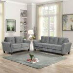 New 2 Pieces Fabric Upholstered Sofa Set, Including 1 3-seat Sofa, and 1 Loveseat, for Living Room, Bedroom, Office, Apartment – Gray